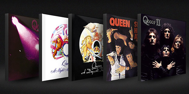 Os cinco primeiros álbuns do Queen, que serão relançados em março como parte das comemorações dos 40 anos da banda (Foto: Reprodução/Site do Artista)