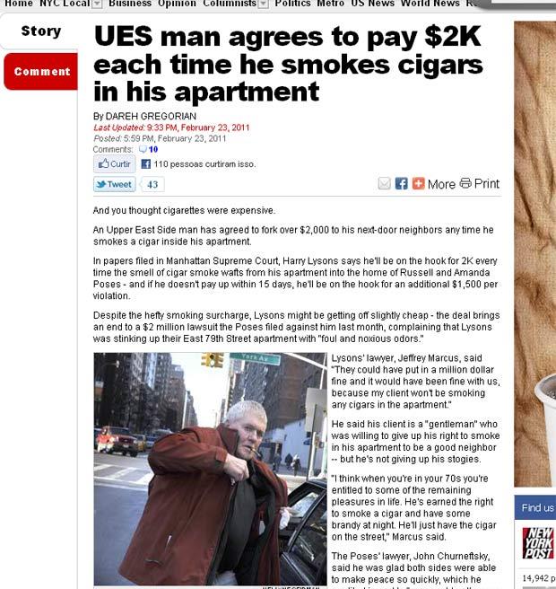 Harry Lysons terá que pagar uS$ 2 mil para vizinhos se fumar no apartamento. (Foto: Reprodução/NY Post)