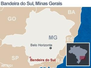 Mapa da cidade de Bandeira do Sul (Foto: Arte/G1)