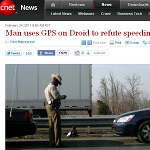 Americano conseguiu escapar de multa ao mostrar GPS como prova (Foto: Reprodução/CNET)