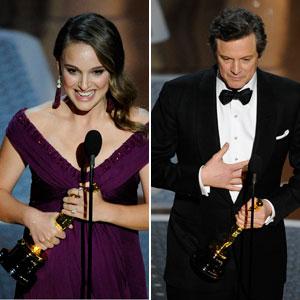 Natalie Portman e Colin Firth ganham o Oscar de melhor atriz e melhor ator (Foto: AP)