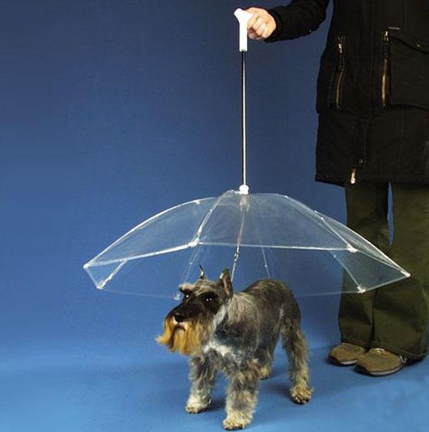 Cheiro de cachorro molhado não é mais problema, pelo menos segundo os criadores desta coleira vendida em uma loja online nos EUA. O invento traz um guarda-chuva acoplado, que permite passear com o cão sem expor o animal à água da chuva. O produto é vendido por US$ 30 na Hammacher Schlemmer (Foto: Divulgação/Hammacher Schlemmer)