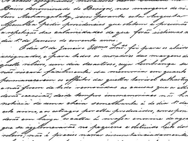 Documento de 1850 pede provid&#234;ncias contra rios que sobem em &#233;poca de chuva (Foto: Reprodu&#231;&#227;o)