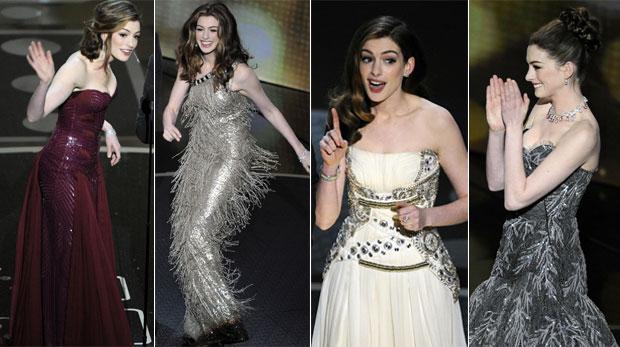 Musa da noite, Hathaway usa oito modelitos; veja as fotos (AP)