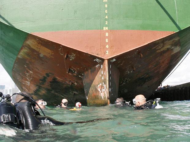 Mergulhadores voltam à superfície após a verificação de um dos lados do casco dos de um navio  as águas turvas do Porto de Miami, em Miami.  (Foto: Wilfredo Lee/AP)