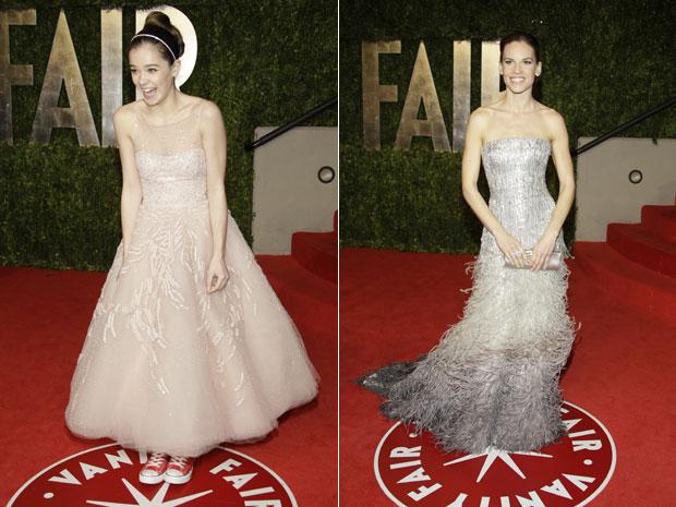 As atrizes Hilary Swank e Hailee Steinfeld estiveram entre as convidadas da festa promovida pela 'Vanity Fair' (Foto: AP)