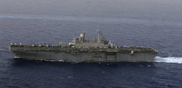 O navio de guerra USS Kearsarge é visto no Mar Vermelho em 16 de fevereiro (Foto: AFP PHOTO / US NAVY)