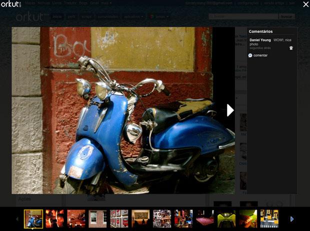 Vizualização de fotos em tela cheia.
