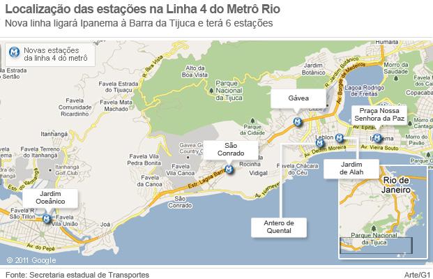 Mapa da linha 4 do metrô do Rio (Foto: Arte G1)