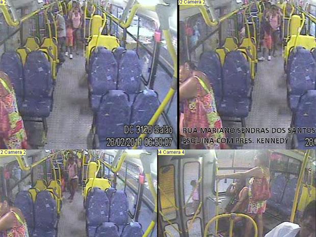 Câmera de ônibus mostra amante do pai com menina Lavínia (Foto: Divulgação / PCERJ)