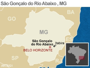 mapa são gonçalo do Rio abaixo (Foto: Editoria de Arte/G1)