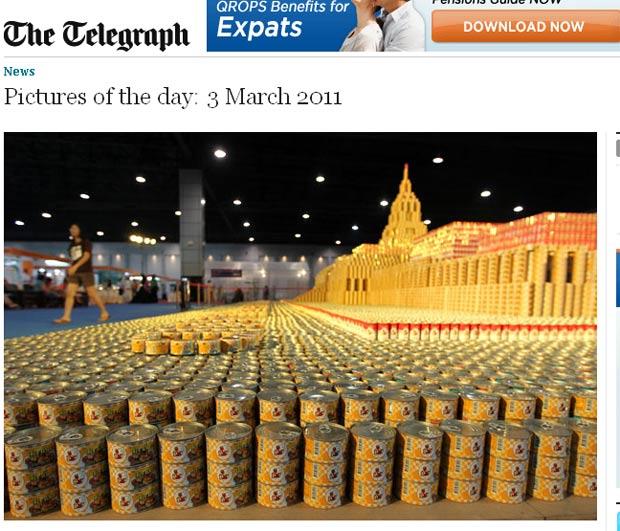 Foram utilizadas 200 mil latinhas na construção da réplica. (Foto: Reprodução/Daily Telegraph)