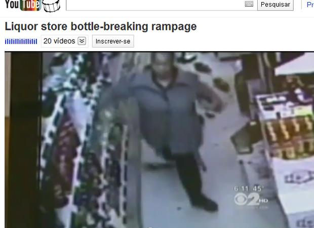 Imagem de câmera de segurança mostra o incidente na loja de bebidas (Foto: Reprodução)
