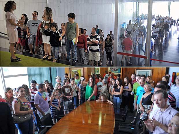 Turistas aguardam em fila para conhecer a Câmara dos Deputados nesta segunda-feira de carnaval (acima); roteiro inclui visita ao gabinete da presidência da Casa (abaixo) (Foto: Fábio Pozzebom/Abr)