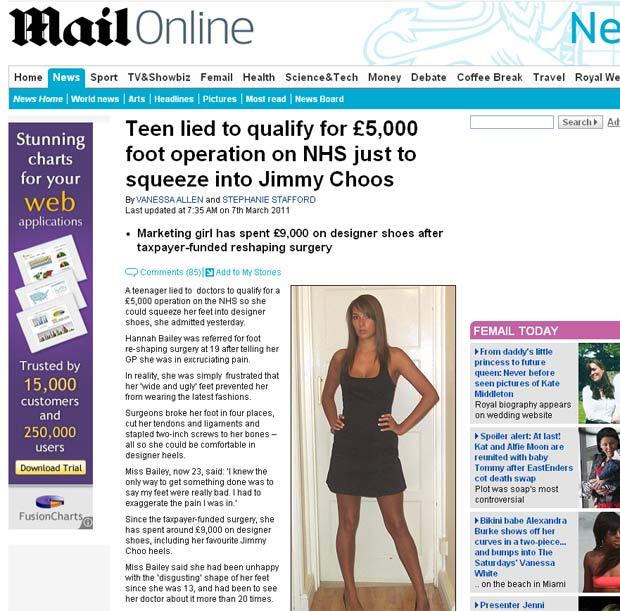 Hannah Bailey disse que exagerou na dor que sentia. (Foto: Reprodução/Daily Mail)