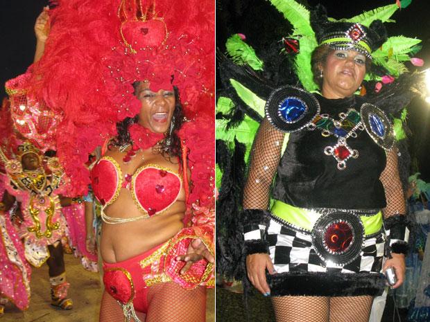 Márcia Risso e Sara Passos viveram a emoção de desfilar na Sapucaí (Foto: Carolina Laureano/G1)