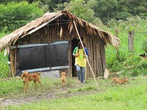 Escola indígena - casa (Foto: Fernanda Nogueira/G1)