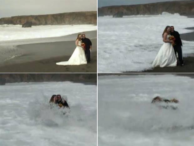 Kathleen Moore e Bryan Solari foram atingidos por uma onda enquanto posava para foto. (Foto: Reprodução)