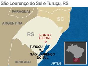 Mapa de São Lourenço do Sul (RS) (Foto: Editoria de Arte/G1)