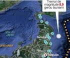 Sistema de alerta soou um minuto antes do tremor na costa do Japão (Editoria de Arte/G1)