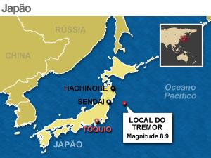 mapa terremoto japao atualizada (Foto: Arte G1)
