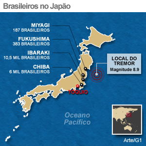 mapa brasileiros japão (Foto: Editoria de Arte/G1)