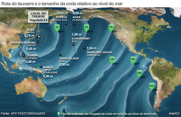 Imagem mostra a rota dos locais já atingidos pelo tsunami nesta sexta-feira (11)   (Foto: Arte/G1)