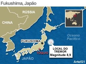 Mapa localiza Fukushima, no Japão (Foto: Editoria de Arte / G1)