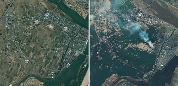 Fotos divulgadas pela GeoEye mostra a cidade japonesa de Natori, na península de Oshika, província de  Miyagi, afetada pelo tsunami de sexta-feira. A da esquerda foi tirada em 4 de abril, e a da direita, neste sábado (12), um dia após o terremoto de magnitude 8.9. (Foto: AP Photo/GeoEye)