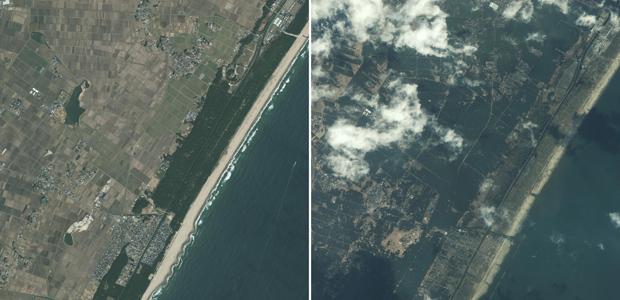Imagens de satélite divulgadas neste domingo (13) tiradas pelo satélite GeoEye-1 mostram a costa da cidade japonesa de Sendai em 15 de novembro de 2009 (à esquerda) e neste sábado (12), depois de ser atingida pelo tsunami provocado pelo terremoto de magnitude 8,9 da véspera (Foto: REUTERS/GeoEye)