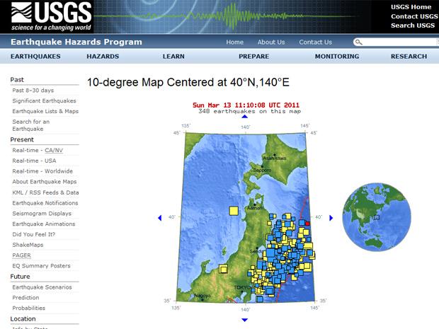 Gráfico do site do Serviço Geológico dos EUA mostra tremores secundários ocorridos desde sexta na costa japonesa (Foto: Reprodução)