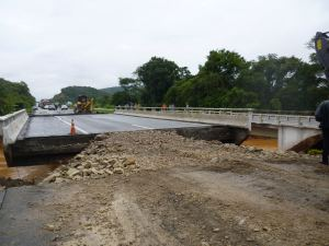 Ponte sobre o Rio Sagrado III no km 26 da BR-277  (Foto: Matheus Fernandes)