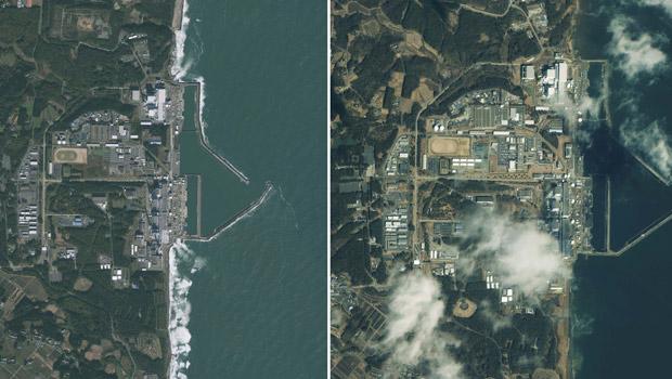 Imagens de satélite comparam a situação da usina nuclear de Fukushima em novembro de 2009 (à esquerda) e na sexta-feira (11), após o terremoto e o tsunami que atingiram o Japão; usina sofreu explosão em um dos reatores no dia seguinte, sábado (12) (Foto: Reuters/GeoEye Satellite )