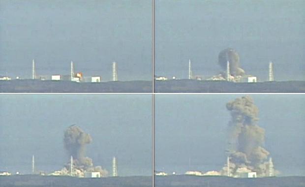 Combinação de imagens de vídeo da TV local mostra a explosão desta segunda-feira (14) na usina de Fukushima (Foto: Reuters)