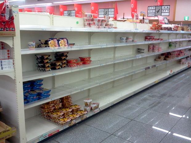 Prateleira vazia em supermercado de  (Foto: Rodrigo Kouti/ Arquivo Pessoal)