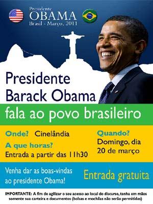 Flyer Obama no Rio (Foto: Divulgação / Consulado Americano)