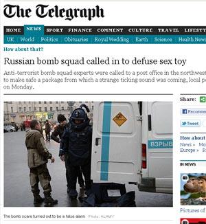 Polícia russa desarma vibrador (Foto: Reprodução/Telegraph)