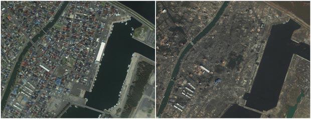 Imagens mostraram área de Yuriage, próximo à província de Miyagi, antes e depois do terremoto e tsunami. (Foto: AP)