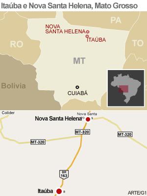 Indídos bloqueiam rodovia em Mato Grosso - mapa (Foto: Editoria de Arte/G1)