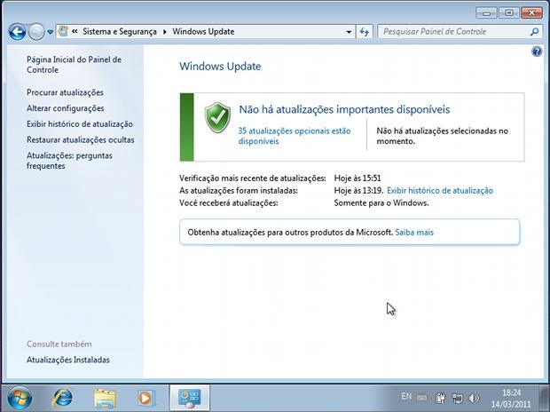 Verificando o status do Windows Update (Foto: Reprodução)