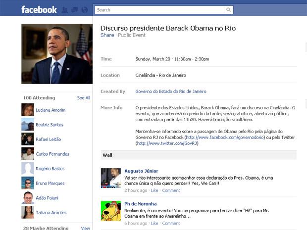 Governo do RJ convida para discurso de Obama no Facebook (Foto: Reprodução/Internet)