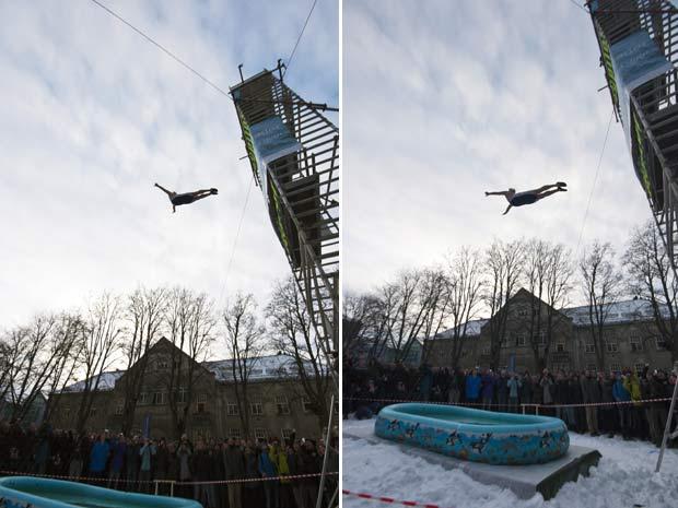 Darren Taylor saltou de 11,03 metros de altura em um piscina com apenas 30 centímetros de água. (Foto: Barcroft USA/Getty Images)