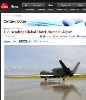 Avião não tripulado 'Global Hawk' é capaz de voar por 30 horas (Foto: Reprodução/CNET)