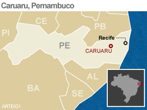 Mapa Caruaru, Pernambuco VALE ESSE (Foto: Arte/G1)