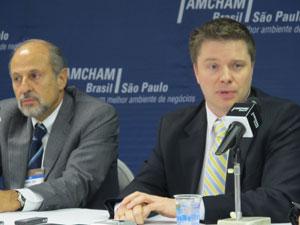 Representantes da Amcham e da US Chamber of Commerce falam sobre visita de Obama (Foto: Darlan Alvarenga/G1)