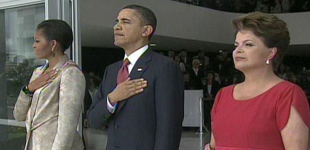 Dilma recebe Obama no Planalto (Dilma recebe Obama no Planalto (Reprodução/TV Globo))