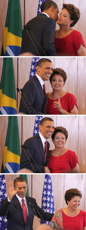 Obama e Dilma durante encontro no Palácio do Planalto (Foto: Raquel Aviani / G1)