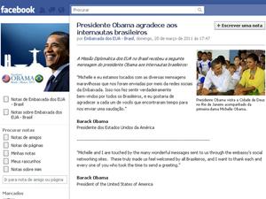 Página do Facebook mostra mensagens sobre a visita de Obama (Foto: Reprodução Internet)