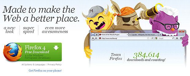Firefox 4 já pode ser baixado gratuitamente no site da Mozilla (Foto: Reprodução)