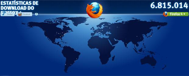 Mozilla publicou site para mostrar as estatística do Firefox 4 em tempo real (Foto: Reprodução)